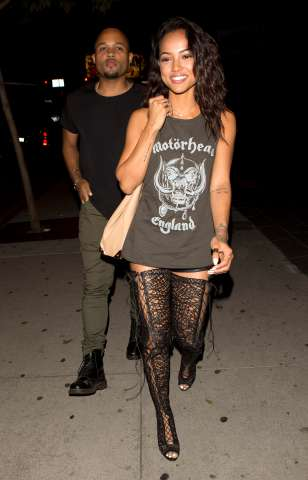 Karrueche at BOA restaurant with friends in West Hollywod