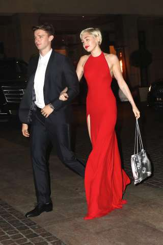 Miley Cyrus and Patrick Schwarzenegger attend pre-Grammy party at Beverly Hilton
