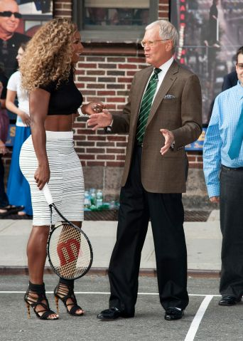 Serena Williams and David Letterman play tennis in NYC