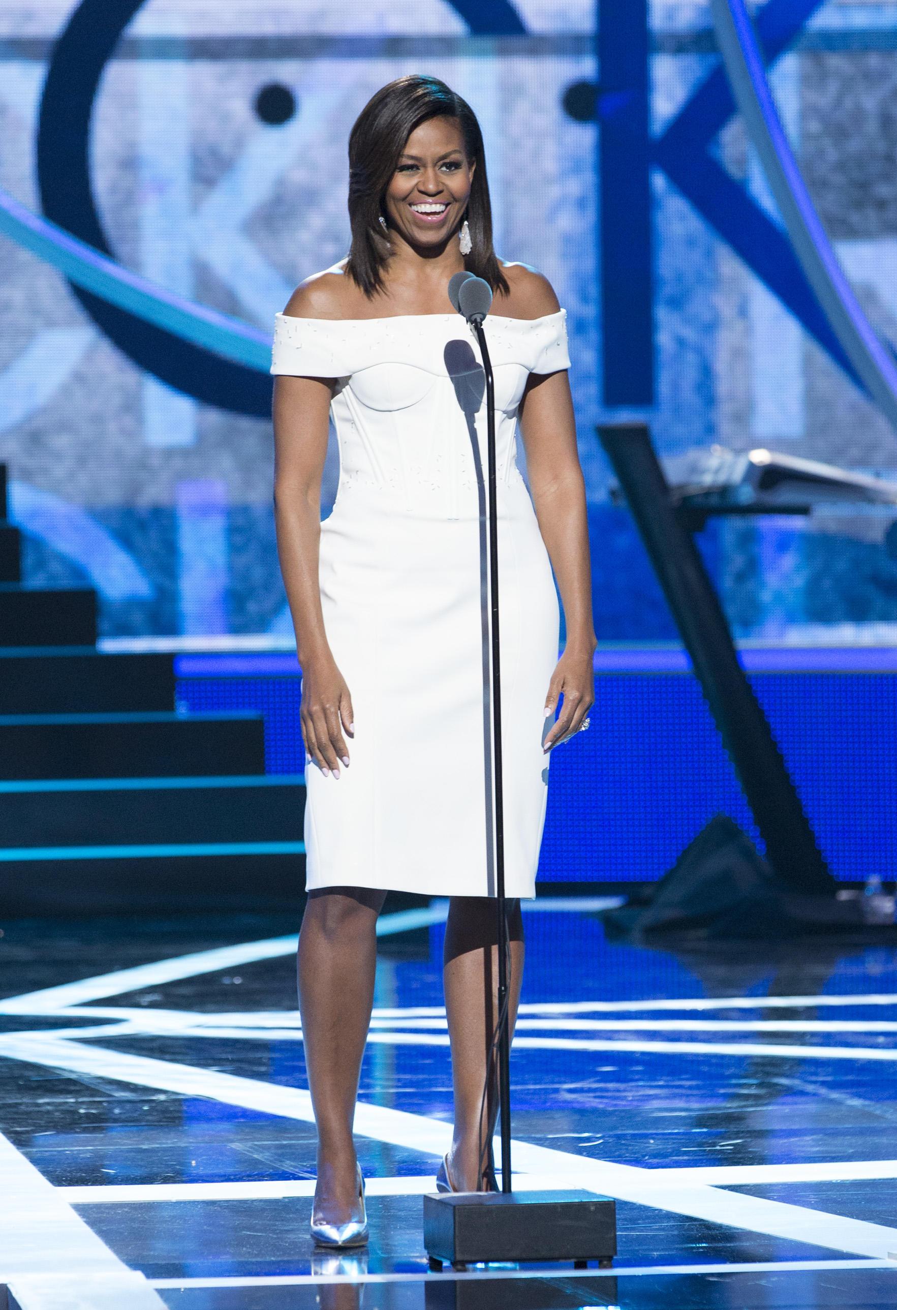 "Michelle Obama speaks at BET's 2015 ""Black Girls Rock"" in NJ"