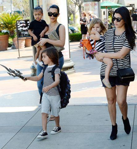 Kim Kardashian & Kourtney Kardashian take their kids to the movies