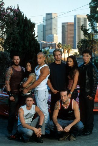Matt Schulze, Chad Lindberg, Michelle Rodriguez, Vin Diesel, Paul Walker Johnny Strong, Jordana Brewster, and Rick Yune in publicity portrait for the film 'The Fast And The Furious'