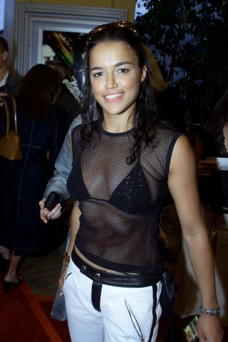 Michelle Rodriguez before the premiere of her film 'The Fast and the Furious'