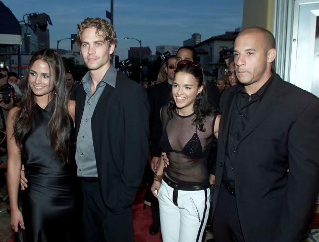 Jordana Brewster, Paul Walker, Michelle Rodriguez and Vin Diesel before the premiere of their film 'The Fast and the Furious'