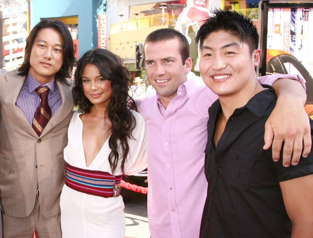 sung kang, Nathalie Kelley, Lucas Black and Brian Tee pose at the premiere of Universal Picture's 'The Fast and the Furious: Tokyo Drift'