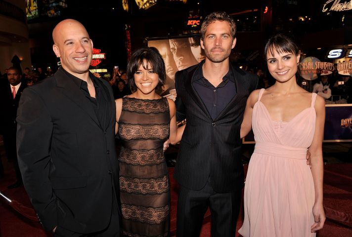 Vin Diesel, Michelle Rodriguez, Paul Walker, and Jordana Brewster arrive at the premiere Universal's 'Fast & Furious'
