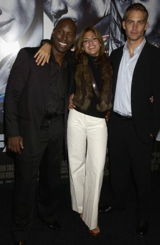 Tyrese, Paul Walker, Eva Mendes arrive at the UK premiere of the film '2 Fast 2 Furious' at the Warner Brothers Cinema West End on June 9, 2003 in London