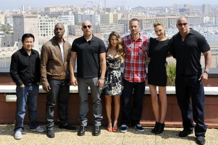 The cast of the movie 'Fast and Furious 5' (from left) director and producer Justin Lin, US actors Tyrese Gibson and Vin Diesel, Spanish actress Elsa Pataky, US actor Paul Walker, Israeli actress Gal Gadot and US actor Dwayne Johnson