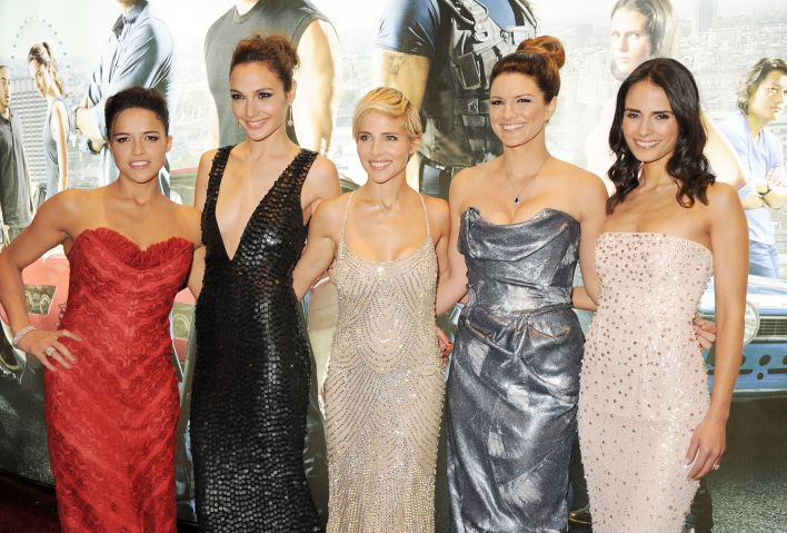 Michelle Rodriguez, Gal Gadot, Elsa Pataky, Gina Carano and Jordana Brewster attend the World Premiere of 'Fast & Furious 6'