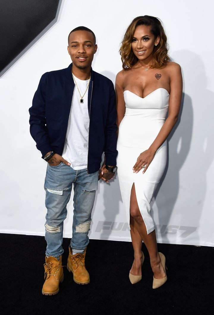 """Shad Moss and fiancee Erica Mena at the """"Furious 7"""" premiere. (2015)"""