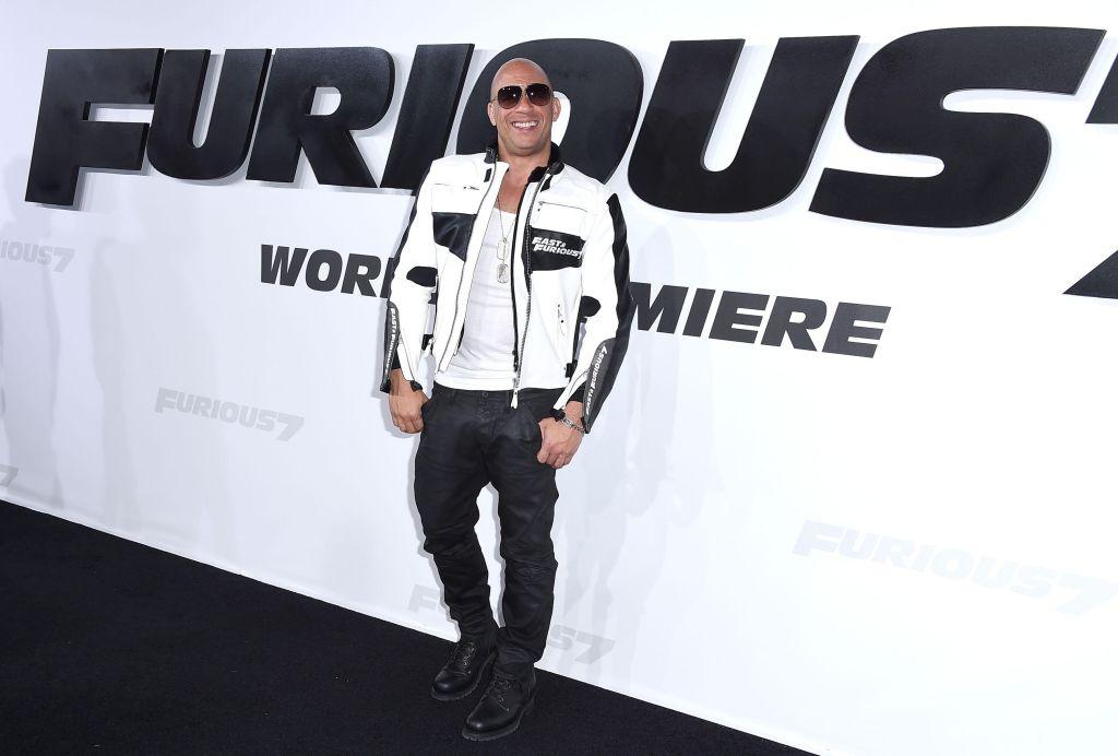 Vin Diesel arrvies at the 'Furious 7' premiere
