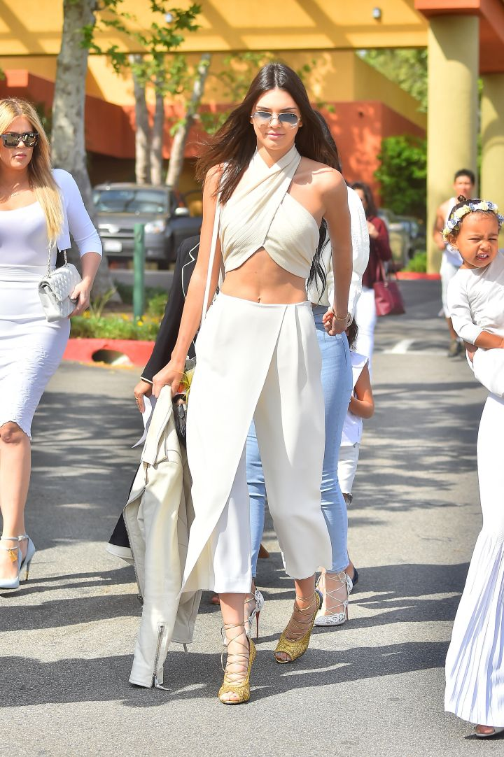 Kendall sure knows how to dress for church.