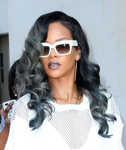 Rihanna spotted with grey hair.
