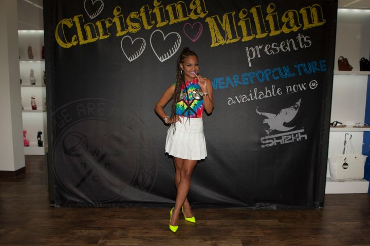 Christina Milian at Shiekh Shoes in Hollywood to promote her new fashion line, We Are Pop Culture.