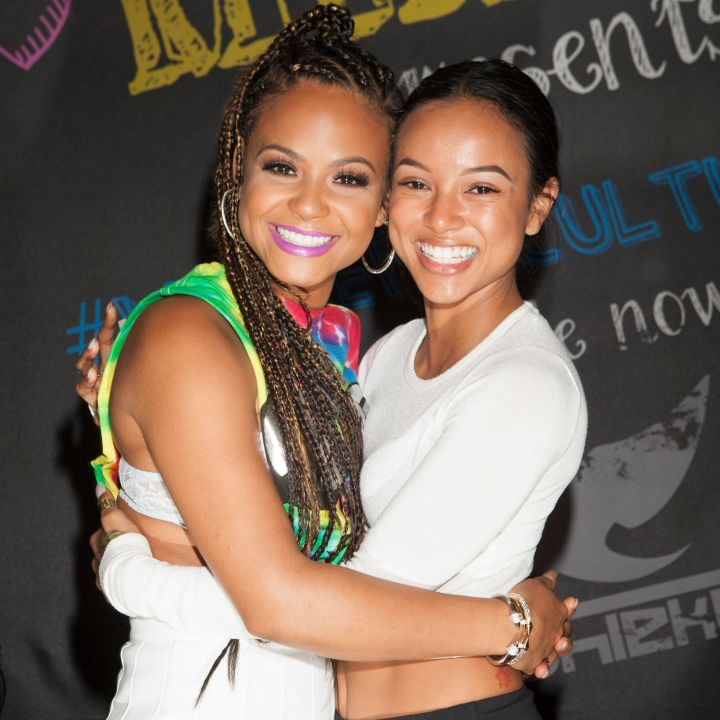 Christina Milian and Karrueche at Shiekh Shoes in Hollywood to promote her new fashion line, We Are Pop Culture.