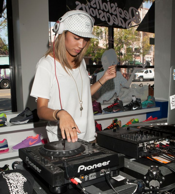 DJ Filthy Rich Taj spins at Shiekh Shoes in Hollywood to promote Christina's new fashion line, We Are Pop Culture.