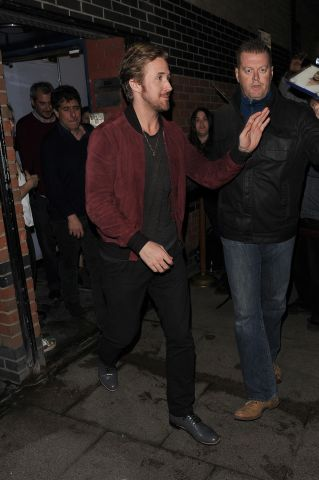 Ryan Gosling enjoys a night out with Matt Smith and Lily James at The Arts Club in Mayfair
