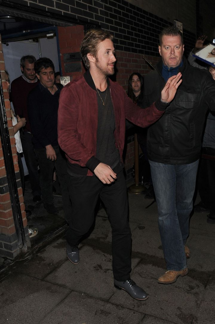 Hey girl, I'm here to make sure you get home safe. Ryan Gosling enjoys a night out at The Arts Club in Mayfair.