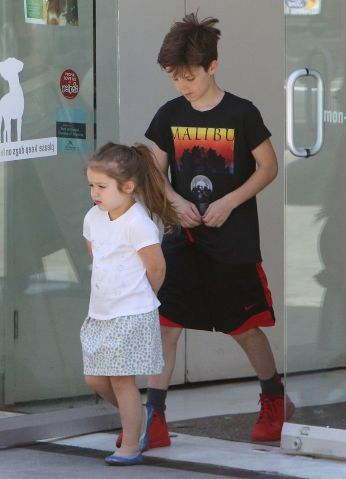 The Beckham kids leaving Healthy Spot in Los Angeles