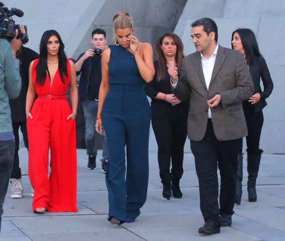 Khloe Kardashian wipes tears as she leaves the Armenian Genocide memorial with Kim and cousins