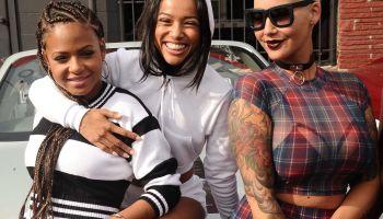 Amber Rose, Christina Milian, & Karrueche share laughs before heading to Coachella
