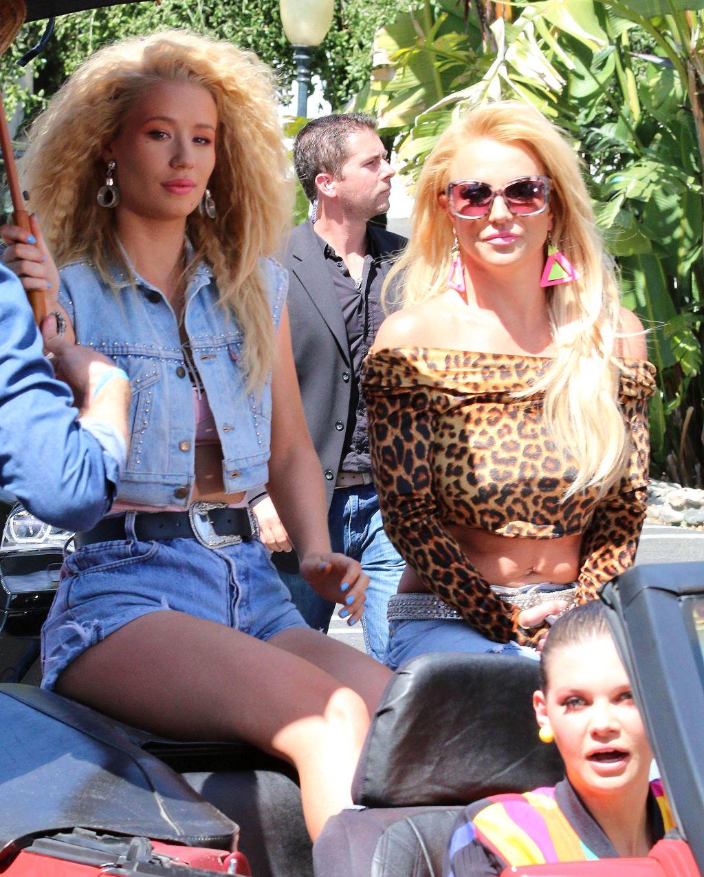 "Iggy Azalea & Britney Spears on the set of ""Pretty Girls"" music video"