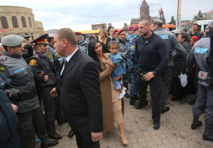 Kim Kardashian holds daughter North in arms as she visits church in Gyumri