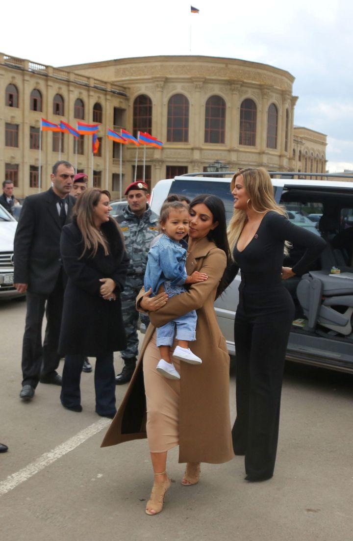 North West, Kim K., and Khloe Kardashian show off their Armenia style.