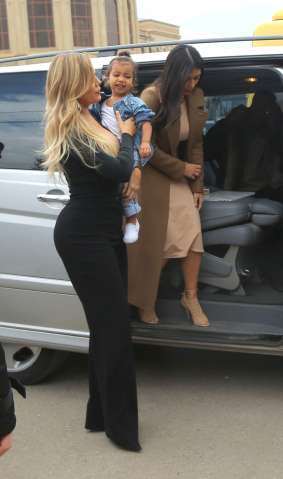Kim, Khloe Kardashian holds daughter North in arms as she visits church in Gyumri