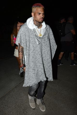 Chris Brown on his way to the Neon Carnival at Coachella