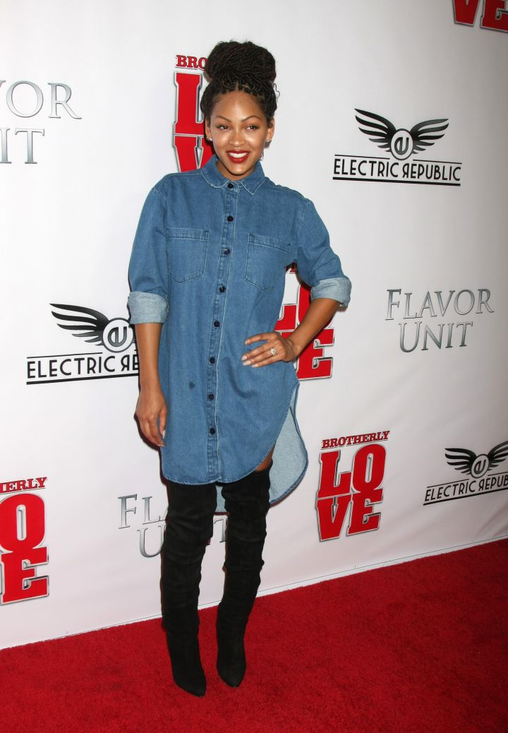 "Meagan Good dabbles in denim at the Los Angeles ""Brotherly Love"" premiere."