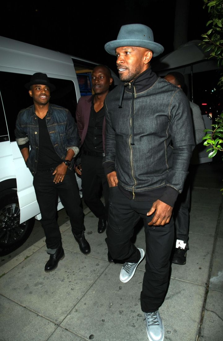 Jamie Foxx was spotted heading into Mr. Chow with his boys, Tyrese Gibson and Larenz Tate.