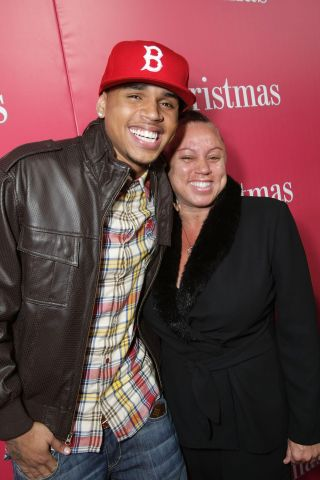 Chris Brown and his mom Joyce Hawkins at Screen Gems Presents the World Premiere of 'This Christmas'