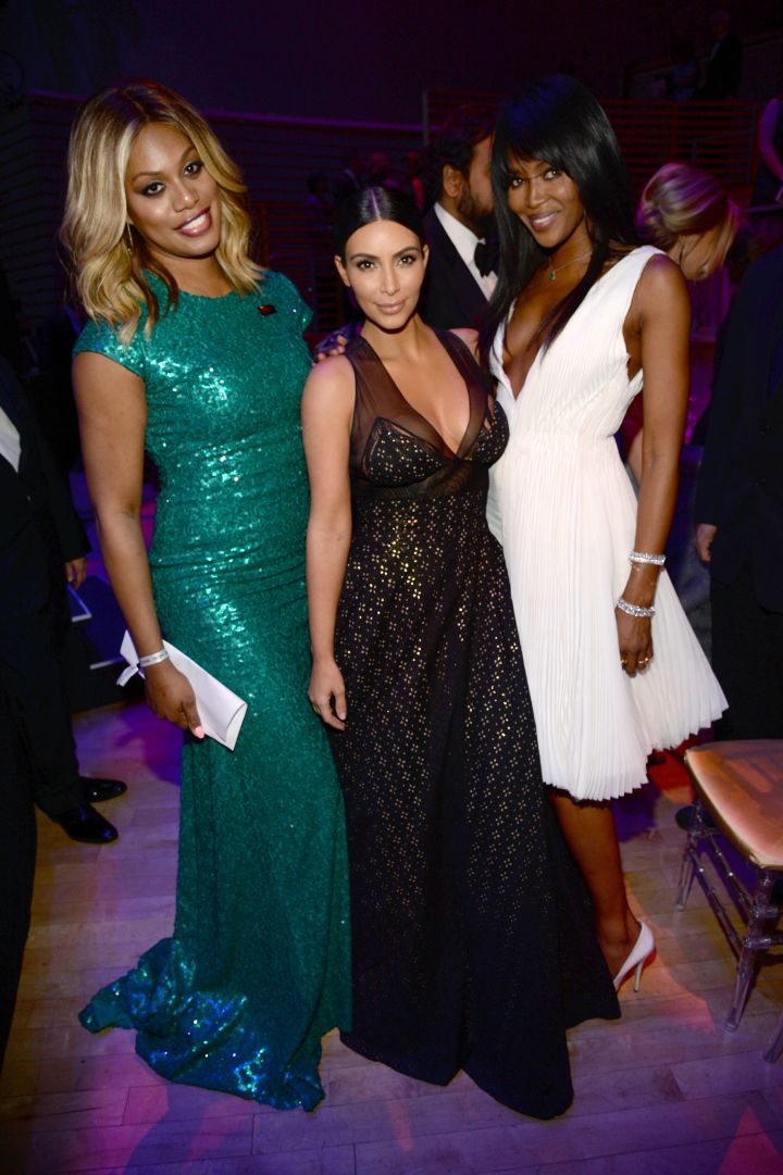 Girl Power! Laverne Cox, Kim, and Naomi Campbell.