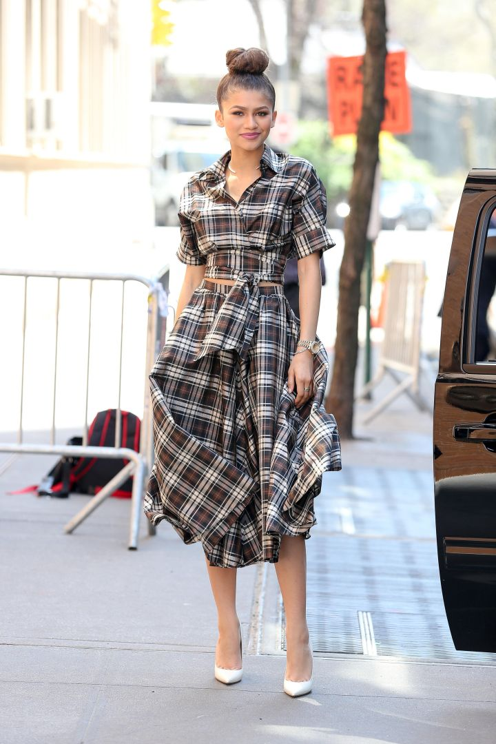 """Zendaya is all smiles while leaving """"The View"""" in New York City."""