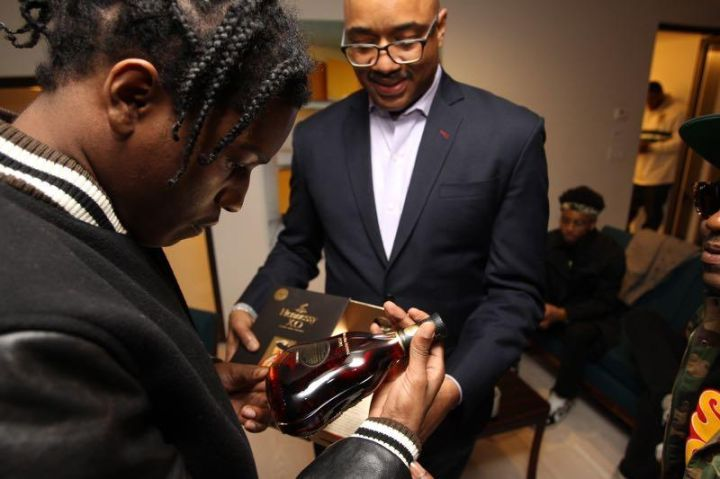 Hennessy V.S teamed up with A$AP Rocky in conjunction with the Tribeca Film Festival for an in-depth discussion at Spring Studios on all things music, fashion, and art. They also gifted him with a personalized bottle of Hennessy XO.