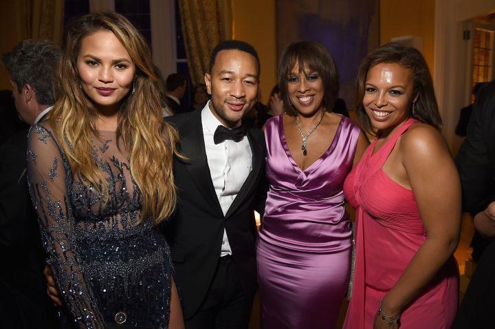 Gayle King & friend pictured with Chrissy Teigen & John Legend