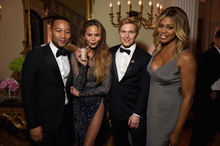 John Legend, Laverne Cox, Chrissy Teigen,, and friend