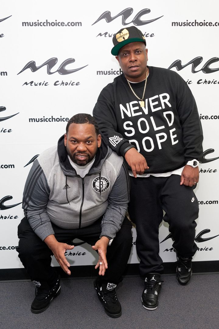Combat Jack and Raekwon pose for a quick flick at Rae's listening session in NYC.