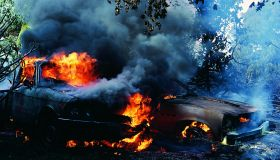 Lava flow destroying cars