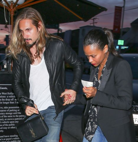 Zoe Saldana and husband Marco Perego spotted at Craig's in Los Angeles, CA.