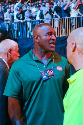 Evander Holyfield seen at the Mayweather/Pacquiao weigh-in