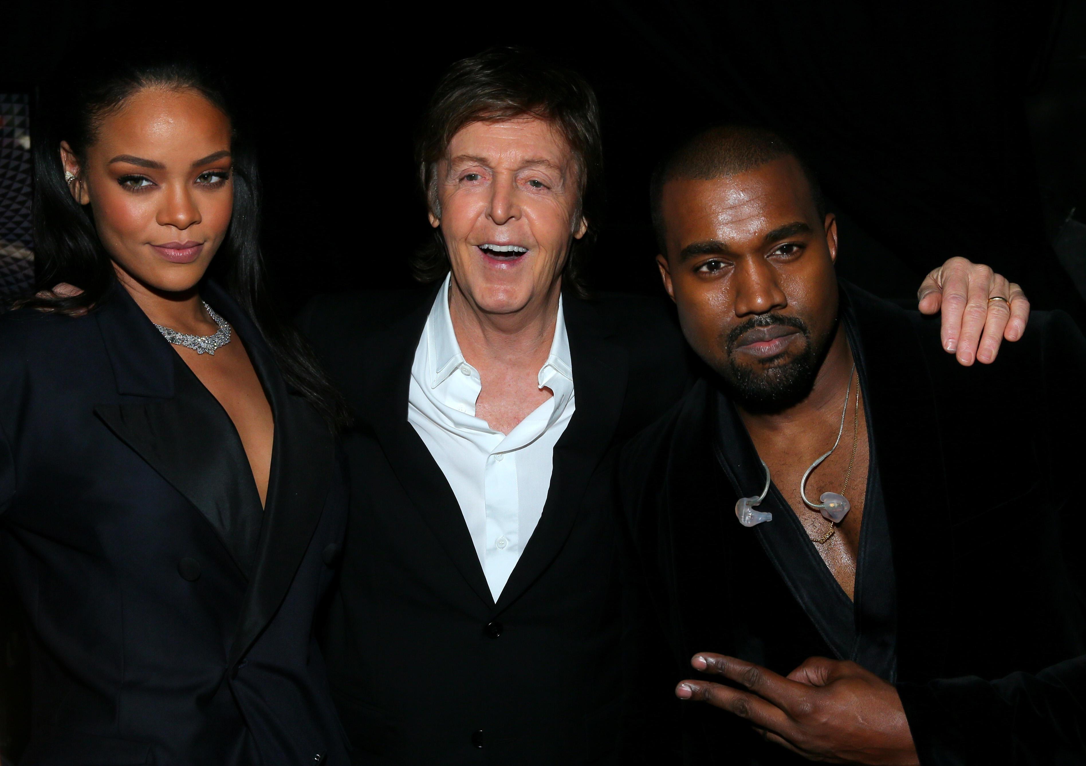 The 57th Annual GRAMMY Awards - Backstage - Rihanna, Kanye West, Paul McCartney