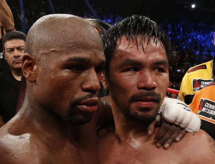 Floyd and Manny hug it out after the fight.