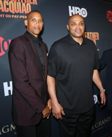 Stars Attend Mayweather vs. Pacquiao Fight at MGM Grand Hotel, Pre-fight parties in Las Vegas - Charles Barkley & Reggie Miller