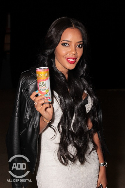 Angela Simmons was diggin' the atmosphere and drinking her Uncle Rush's new energy beverage: Celsius.