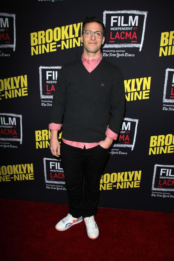 Andy Samberg was on chill mode during an evening with 'Brooklyn Nine-Nine' at LACMA in Los Angeles, CA.