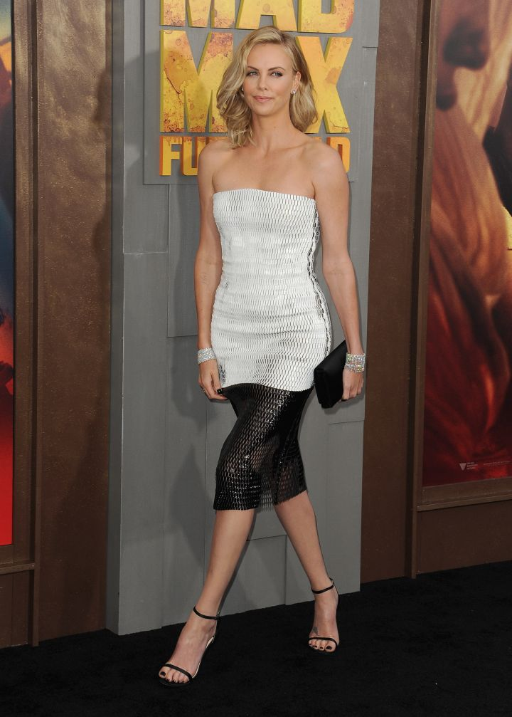 """Charlize Theron arrived at the Los Angeles premiere of """"Mad Max: Fury Road"""" at the TCL Chinese Theatre in Hollywood."""