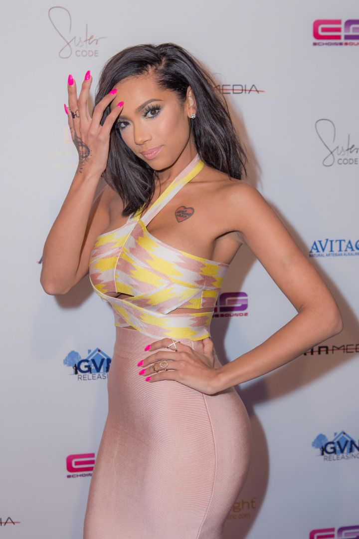 """Erica Mena broke necks when she arrived at the Los Angeles Premiere Of """"Sister Code"""" held at AMC Universal CityWalk Theatre."""