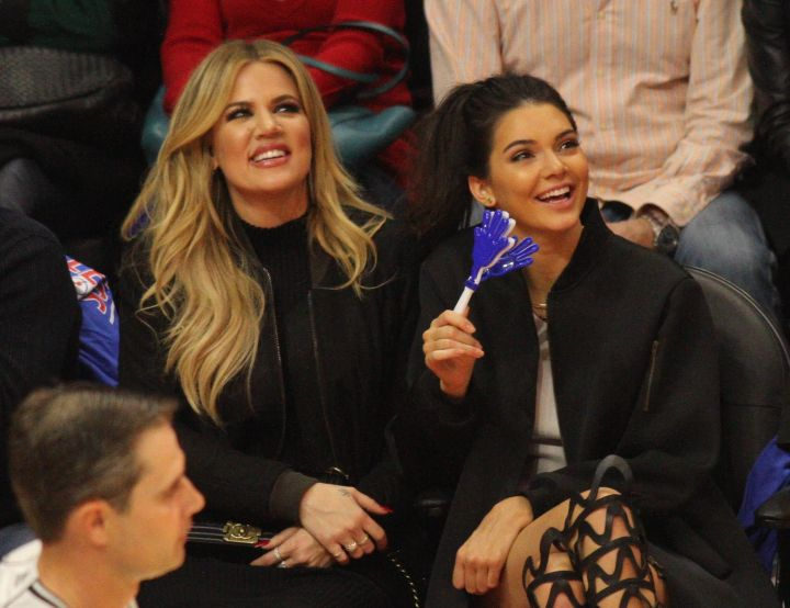Hangin' out at a basketball game with Khlo.